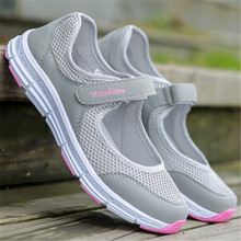 2018 New Fashion Spring Women Soft Sneakers Woman Air Mesh Cool Casual Shoes Female Leisure Black Flats Size 35-42