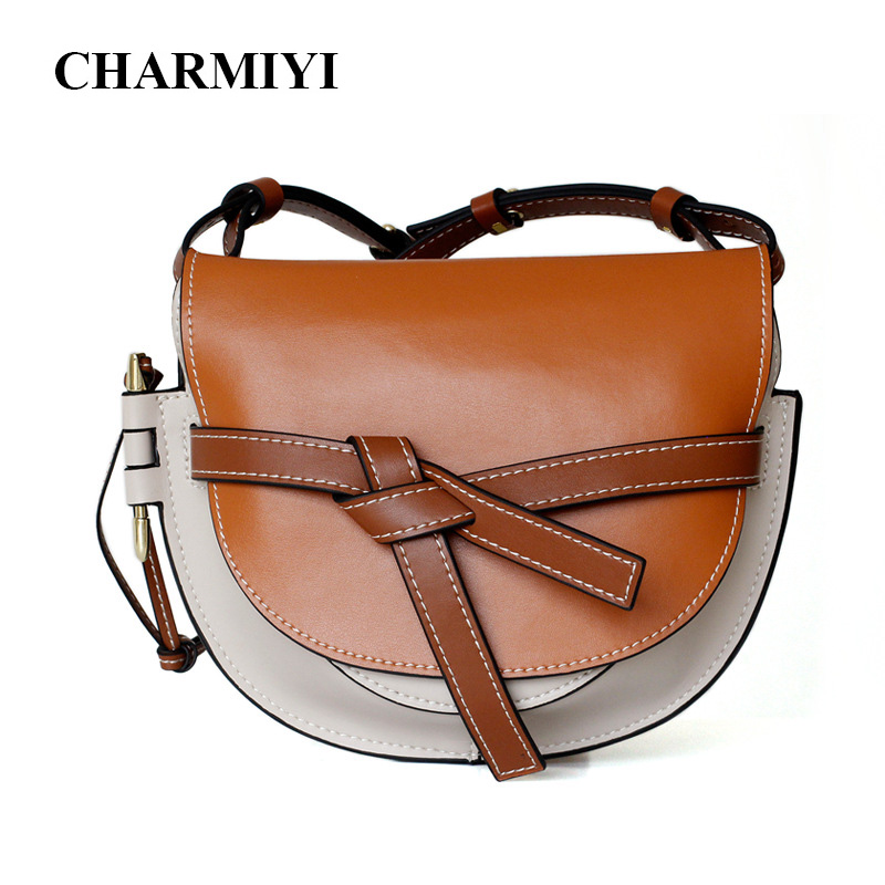 CHARMIYI Vintage Saddle Women Shoulder bags Patchwork Cowhide Leather Woman Crossbody Bag Casual Female Bag Bolsa Feminina 2018 charmiyi 2018 women handbags cowhide leather messenger bags luxury brand lady tote casual crossbody travel bag bolsa feminina
