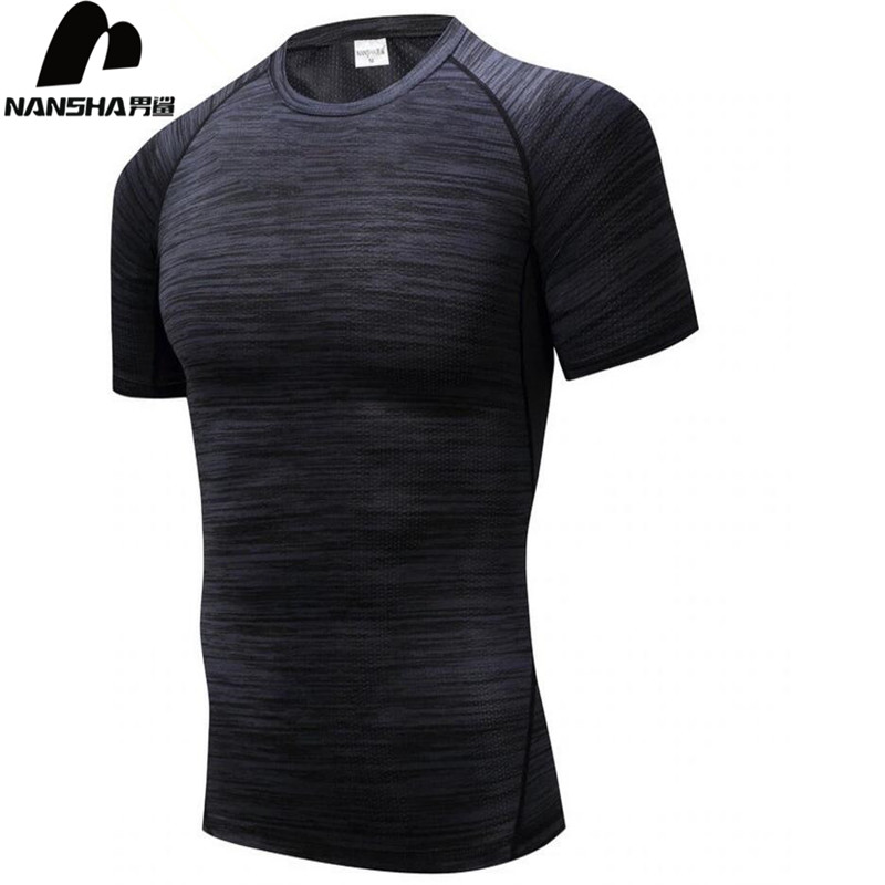 NANSHA Brand Gyms Compression   T  -  Shirt   Workout Crossfit   T     Shirt   Fitness Tights Casual   Shirts   Quick Dry Short Sleeves   T  -  Shirts