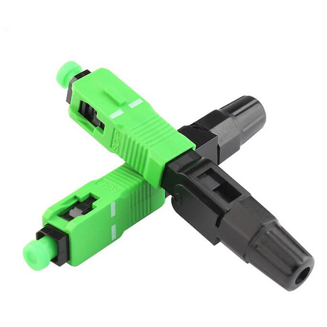 400PCS/Lot SC APC Fast Connector Telecom Standard FTTH Fiber Optic Field Assembly Quick Fast Connector Drop Cable IL 0.3dB