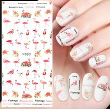 1 Sheets Colorful Tropical Flamingo Sticker Nail Art 3D DIY Accessory Decals 12cm effect nail decals -Design -
