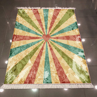 Innego zielony niebieski paski czerwony serca Vintage starzenia się 3d wzór druku antypoślizgowe z powrotem zmywalny dekoracyjne Kilim dywan dywan w Dywan od Dom i ogród na