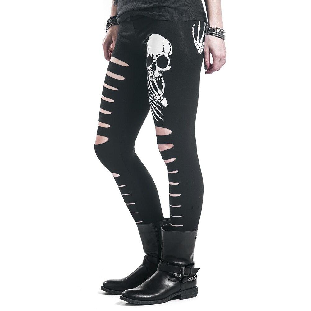 e7bc7ab53b high quality New Fashion Skull Printed Hollow Hole Women Leggings Woman  Pants