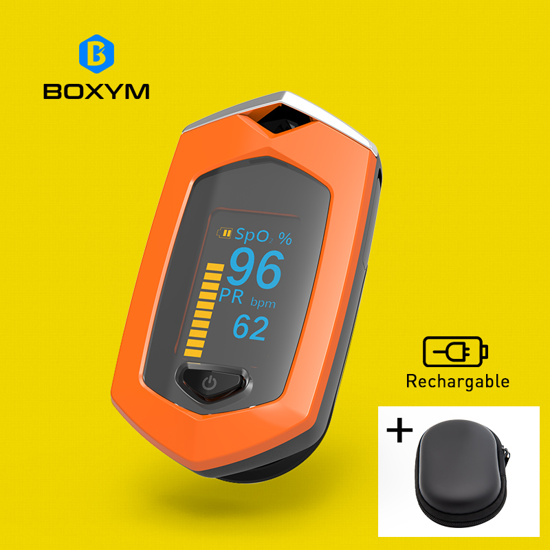 BOXYM Finger Pulse Oximeter Pulsioximetro SpO2 PR OLED Rechargeable CE Medical Oximetro De Dedo Heart Rate Monitor oled pulse finger fingertip oximeter blood spo2 pr heart rate monitor