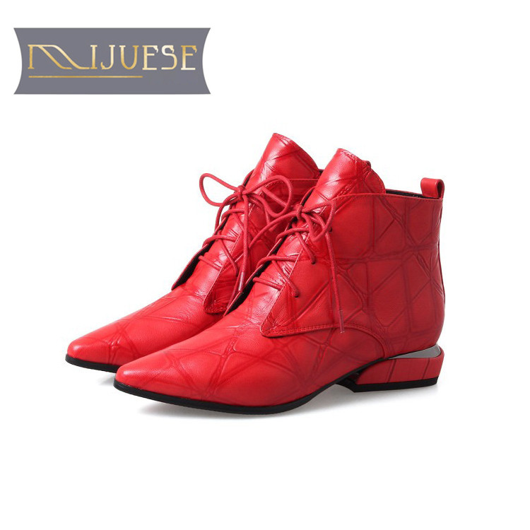 MLJUESE 2019 women ankle boots Cow Suede lace up Rome style Checkered low heel boots winter