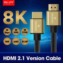 Moshou cabos hdmi 1m, cabos hdmi 2.1 8k 60hz 4k 120hz 48gbps de largura de banda interface multimídia alta definição para amplificador tv