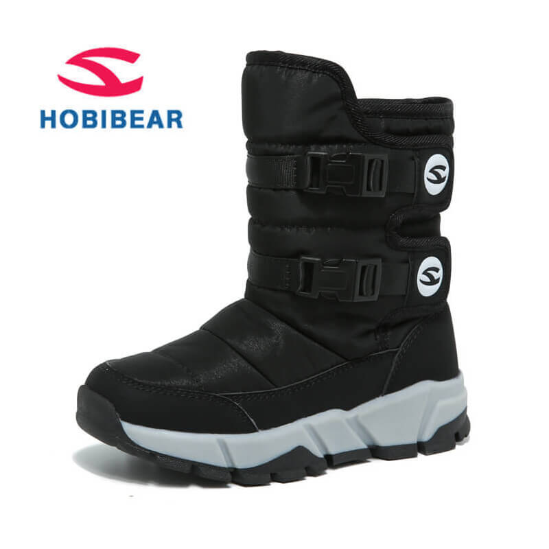 Winter Boots Kids Toddler Anti Slip Mid-Calf Snow Boots For Girls Boys Pu Leather Warm Plush Children's Shoes Rubber Kids Boots