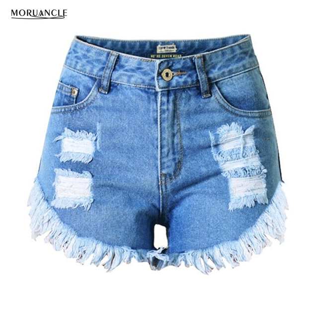 e5113cba25 MORUANCLE New Fashion Womens Hot Ripped Jeans Shorts Female High Waist  Distressed Denim Shorts With Tassels Plus size XS-XXXL