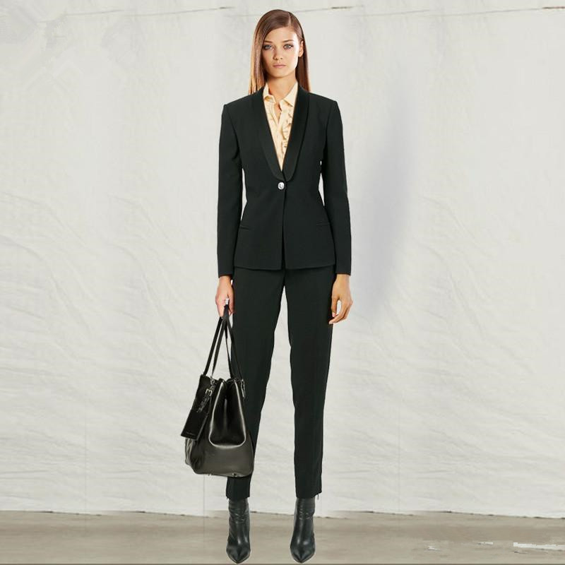 Custom Black Work Bussiness Formal Elegant Women Suit Set Blazers And Pants Office Suits Ladies ...