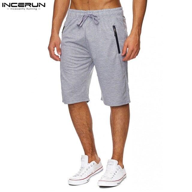 INCERUN D été Loisirs Sportifs Shorts Hommes de Marque Vêtements Taille  Élastique Doux Plaine Casual a2d995983bb