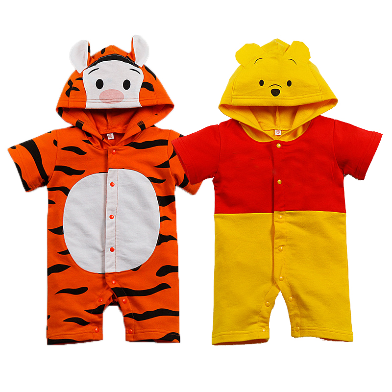 Short Cotton Summer Baby   Romper   Cartoon tiger yellow bear bay boy girl clothes toddler Hooded newborn baby jumpsuit outfits