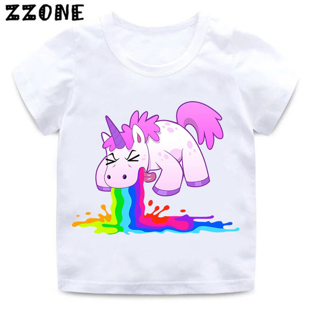 d0333ee83f0bd1 Baby Cute Cartoon Unicorn Print Funny T shirt Girls and Boys Harajuku  Casual Clothes Kids Summer Short Sleeve T-shirt