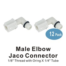 Male Elbow Jaco Connector 1/8 thread to 1/4 Tube Fittings For Water Filters and RO Systems Membrane Housing - 12 PACK цена
