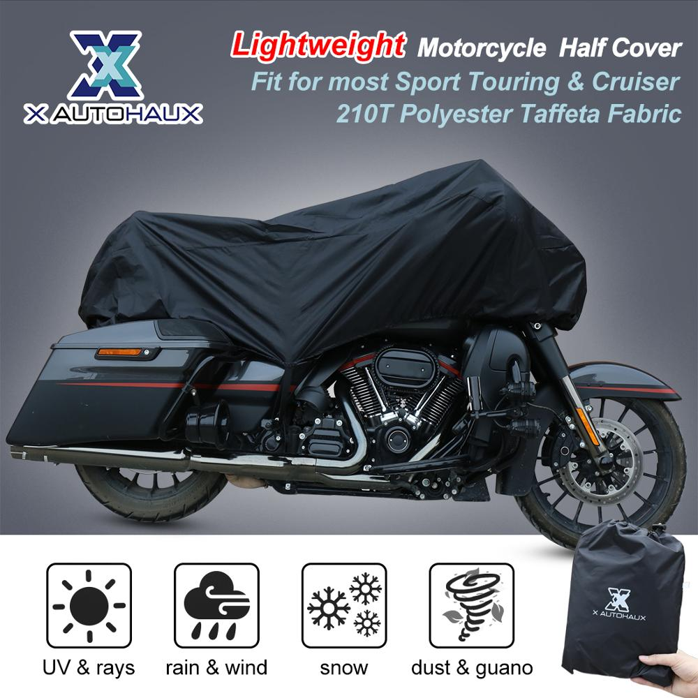 X AUTOHAUX M L XL SIZE Motorcycle Half Cover 210T Universal Outdoor Waterproof Dustproof Rain Dust UV Protector Motorcycle Bike