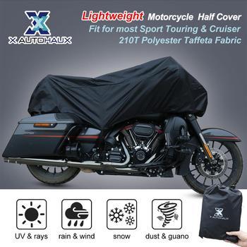X AUTOHAUX M L XL rozmiar motocykl pół pokrywa 210T uniwersalny odkryty wodoodporny odporny na kurz deszcz pył UV Protector motocykl motor tanie i dobre opinie 210T Polyester Taffeta Fabric 220cm