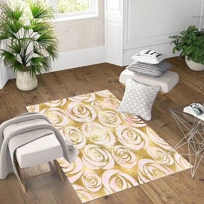 Else Golden Yellow Roses Flowers Geometric 3d Print Non Slip Microfiber Living Room Decorative Modern Washable Area Rug Mat