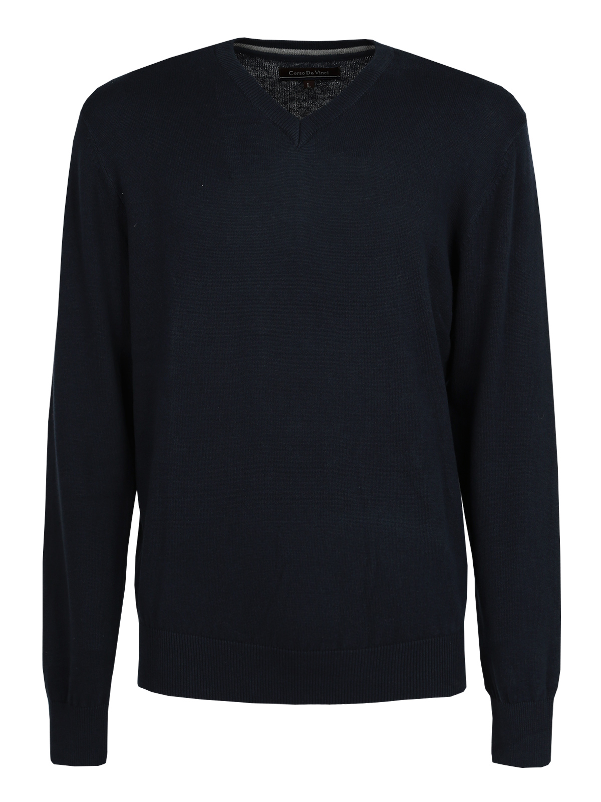 Pullover Cotton V-neck-dark Blue