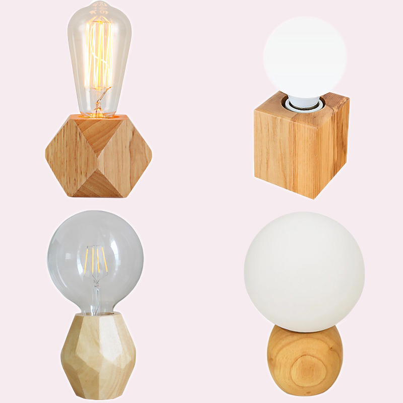 Modern retro mini solid wood polyhedron Table Lamps living room bedroom desk bedside EU plug switch line E27 Wooden tafel lamp north european style retro minimalist modern industrial wood desk lamp bedroom study desk lamp bedside lamp