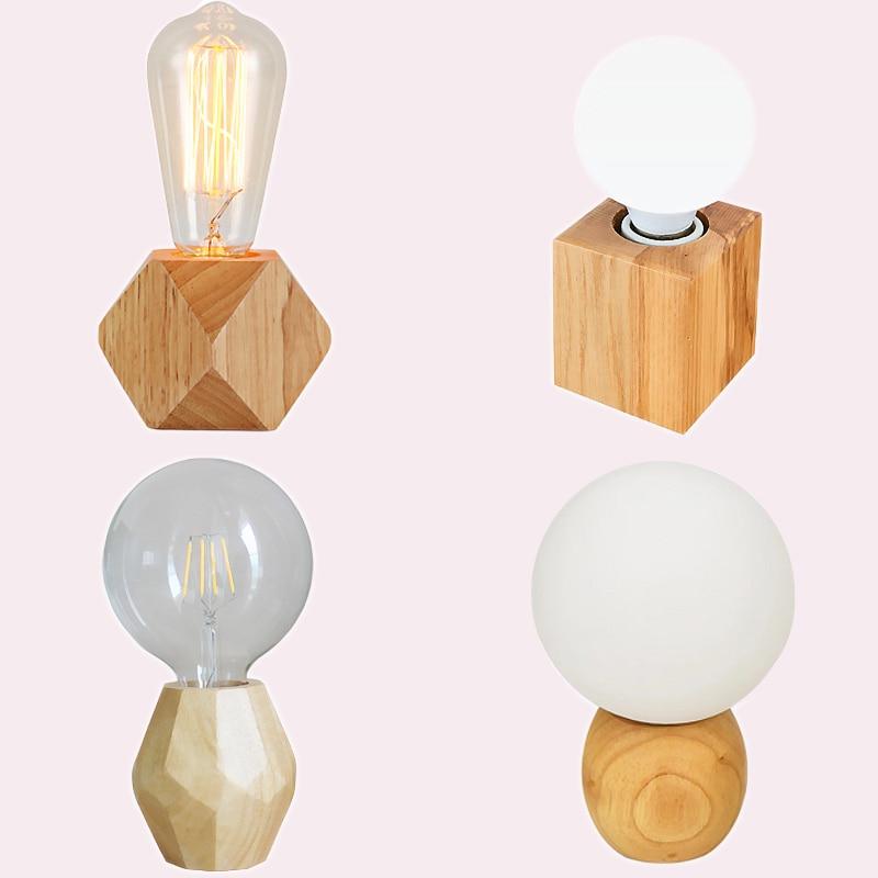 Modern retro mini solid wood polyhedron Table Lamps living room bedroom desk bedside EU plug switch line E27 Wooden tafel lamp