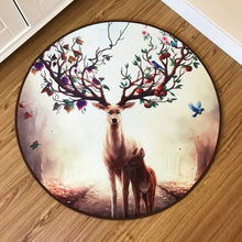 Reindeer Diameter 60CM Round Bath Carpets Rug for Living Room Discs Bedroom Non-slip Kitchen chair floor Mats for Kid Doormat