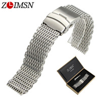 ZLIMSN 316L Stainless Steel Mesh Watch Bands Sport Bracelet Men Silver Black 22mm 24mm Double Push