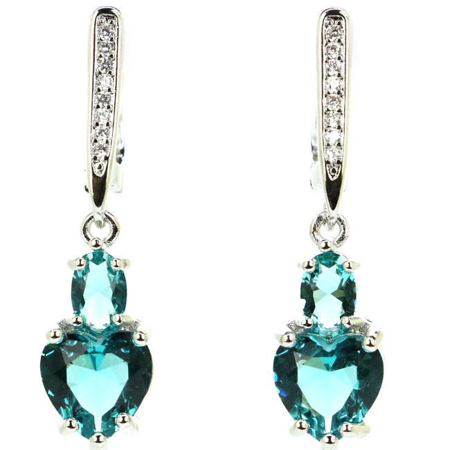 SheCrown Heart Shape Rich Blue Aquamarine regalo para hermana plata pendientes 34x8 mm