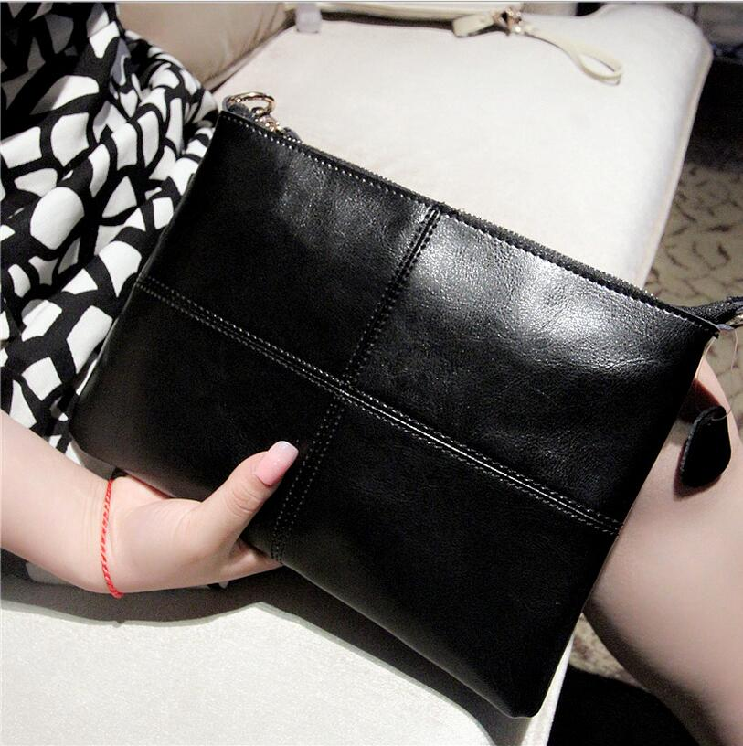 Fashion splicing Women real leather handbag carrying pochette sac female shoulder traveling Ladies evening Small Messenger bag in Clutches from Luggage Bags
