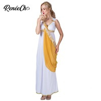 Halloween Costume For Adult White Long Elegant Dress Roman Empress Lady Costume Spartan Queen Women Greek Goddess Costume