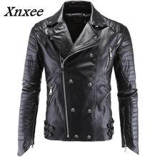 German Designer Skull Rivet Studded Punk Rock Black Biker Leather Motorcycle Jackets Men Plus Size 4XL 5XL Xnxee
