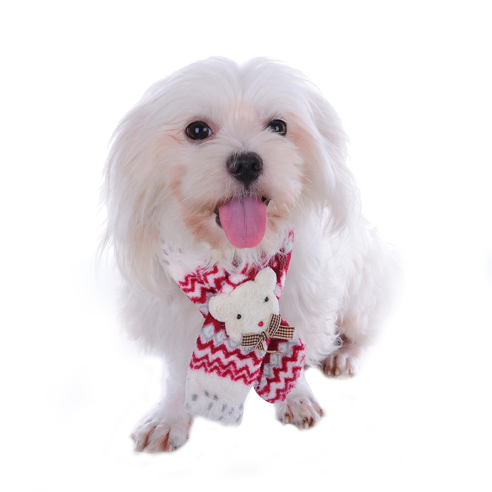 Presents From The Dog Part - 28: Christmas Pet Dog Scarf Soft Warm Bear Decor Snowflake Pattern Puppy Present(China  (Mainland