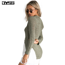 JYSS New arrival Fashion autumn thin sweater for woman Casual midriff-baring sexy irregular women sweaters and pullovers 80785 new autumn winter sexy midriff baring sweaters loose solid knitted pullovers casual deep v neck sweater knitwear