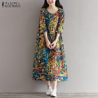 2017 ZANZEA Vintage Random Floral Print Women 3 4 Sleeve Pockets Autumn Loose Casual Party Midi