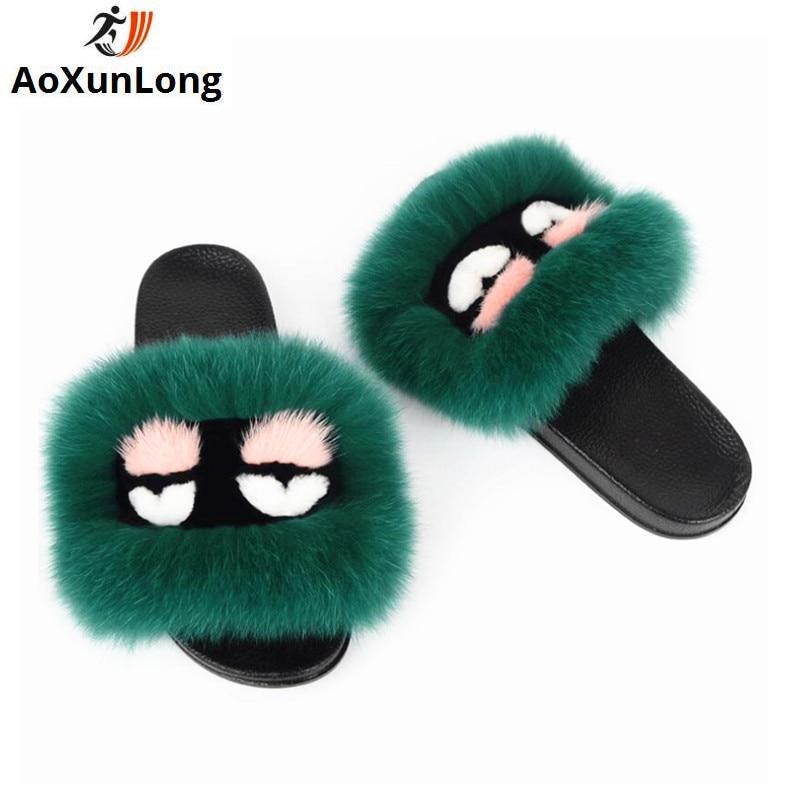 AoXunLong nieuwe kleine monster vrouwen slippers echt vossenbont luxe - Damesschoenen