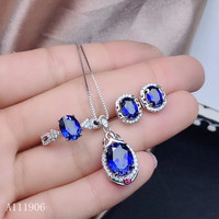 KJJEAXCMY boutique jewelry 925 sterling silver inlaid natural sapphire female ring pendant necklace earrings set support review