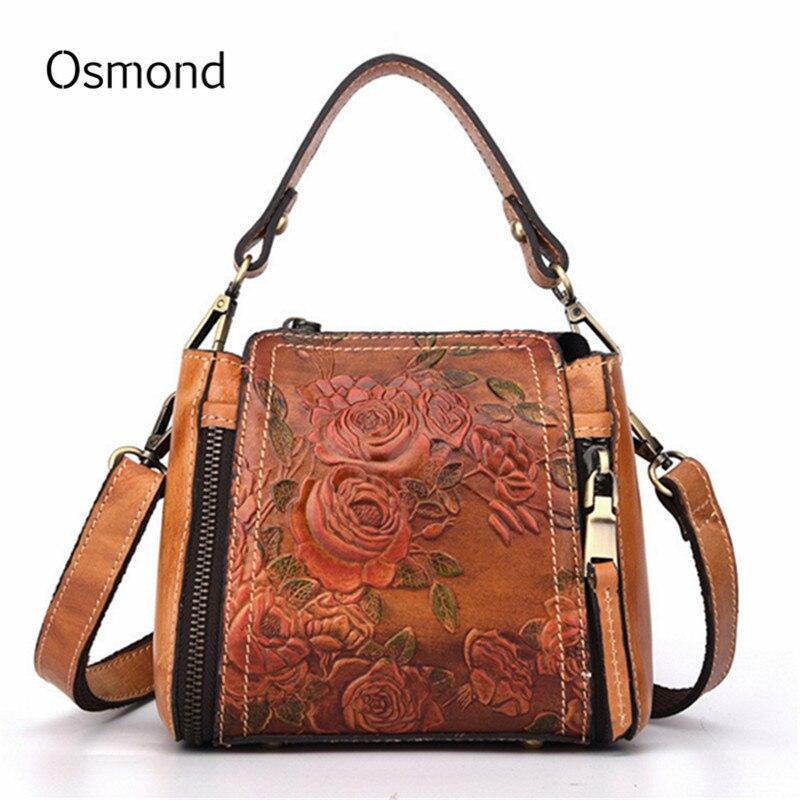 Osmond 2018 Women Luxury Handbags Embossed Genuine Leather Crossbody Bags Female Vintage Messenger Bag Totes Bolsas