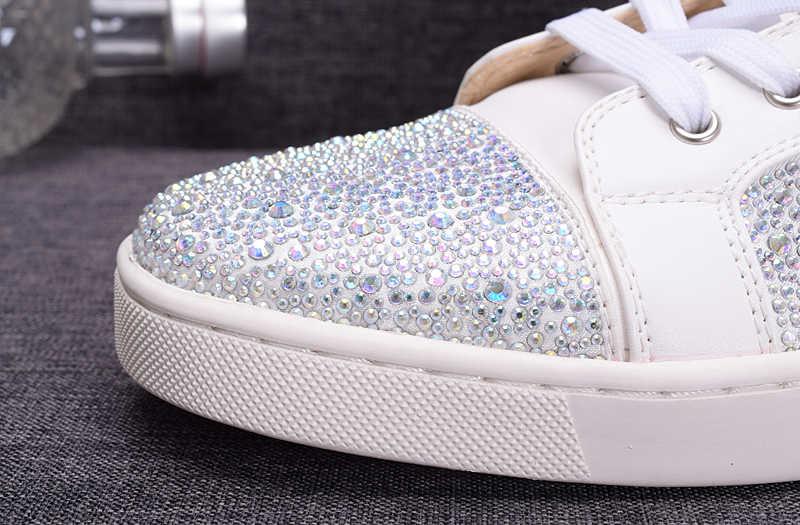Ontwerpers Schoenen Mannen Bling Zilver Kleurrijke Lovertjes Lederen Glitter Flats Sneaker Schoenen Witte Schoenen Mannelijke Sneakers Unisex