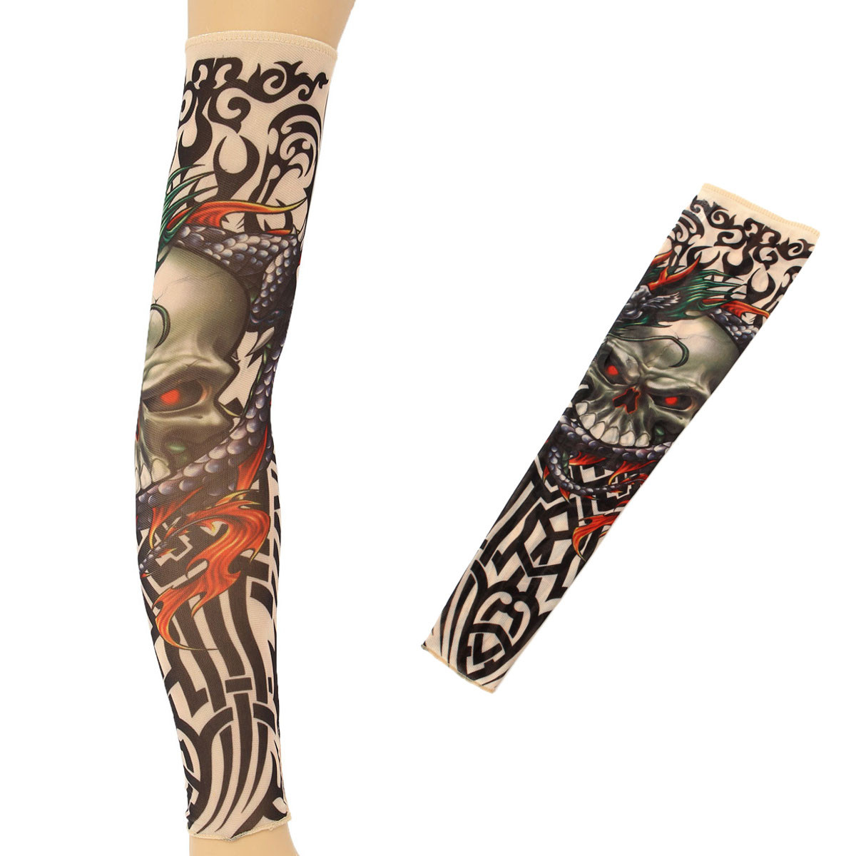 1pcs 92% Polyester Elastic Fake Tattoo Sleeve Skull Design Body Arm Stockings Temporary Tattoos For Halloween Christmas Party