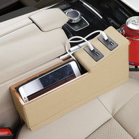 4USB Car Seat Catcher Pocket Storage Organizer Box Cup Holder Charger Tool Gift