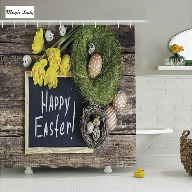 Shower Curtain Brown Bathroom Accessories Easter Decorations Holiday Gift  Religion Eggs Wreath Black Home Decor 180