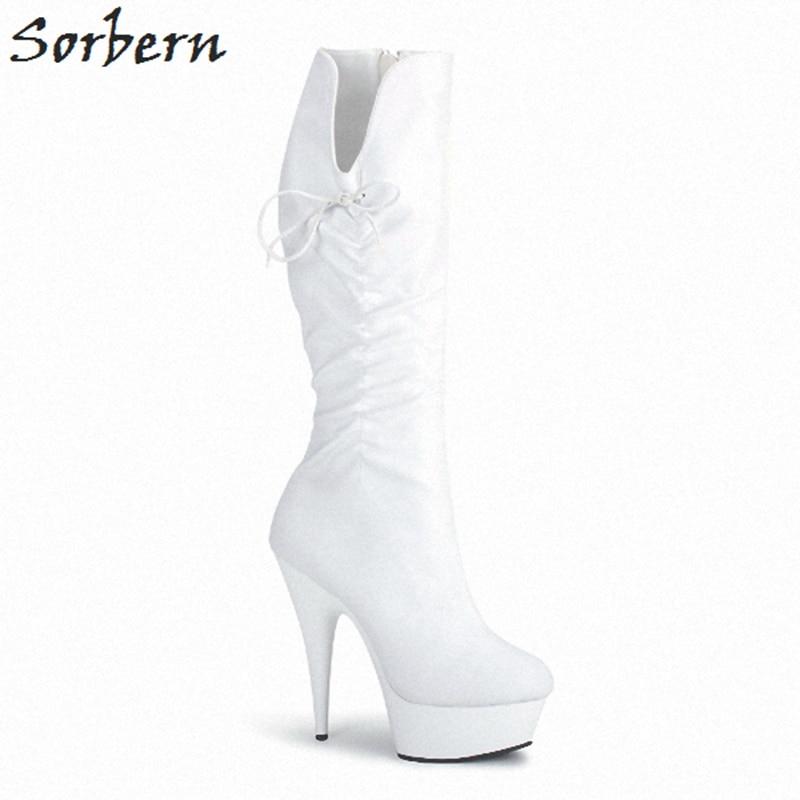 Élégant Sorbern Cm blanc Femmes Chaussures Fétiche 2019 Pour Hauts Bottes À Haute Talons 13 rouge Dames Black Goth Chaussons Genou Blanc d8q4w8r