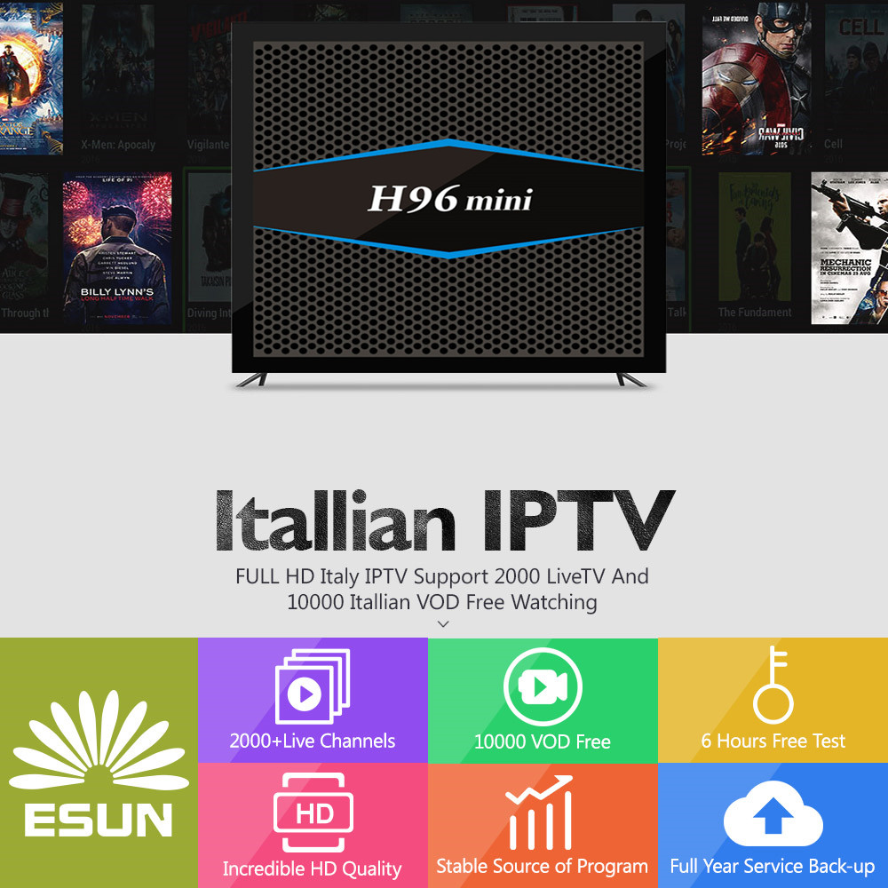 H96MINI Italy IPTV A5 TV Box With 1 Year 4G/32G Italy IPTV EPG 4000+Live+VOD configured Europe Albania ex-yu XXX channels BOX a95x pro voice control with 1 year italy iptv box 2g 16g italy iptv epg 4000 live vod configured europe albania ex yu xxx