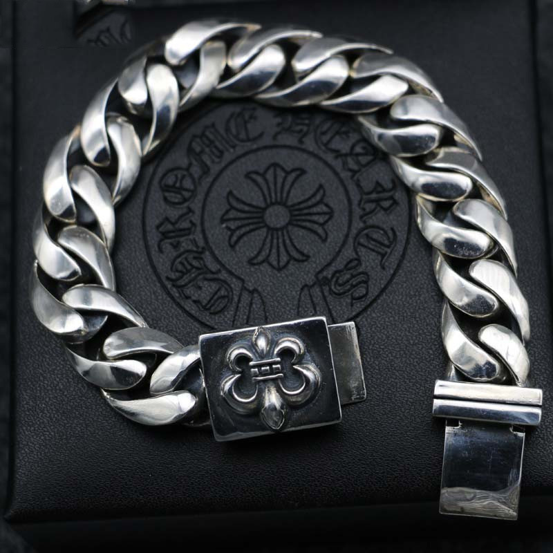 Europe And The United States Personality Tyrannical Tide Boy Flower Arms Bracelet Retro Trend Sterling Silver Metal Punk Jewelry