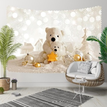 Else White Snow Bears Town Golden Yellow Stars 3D Print Decorative Hippi Bohemian Wall Hanging Landscape Tapestry Wall Art