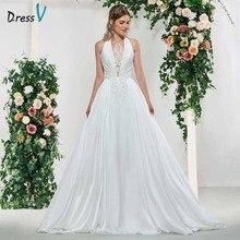 Dressv fildişi zarif yular boyun bir çizgi aplikler kolsuz düğün elbisesi kat uzunluk basit gelinlikler düğün elbisesi es