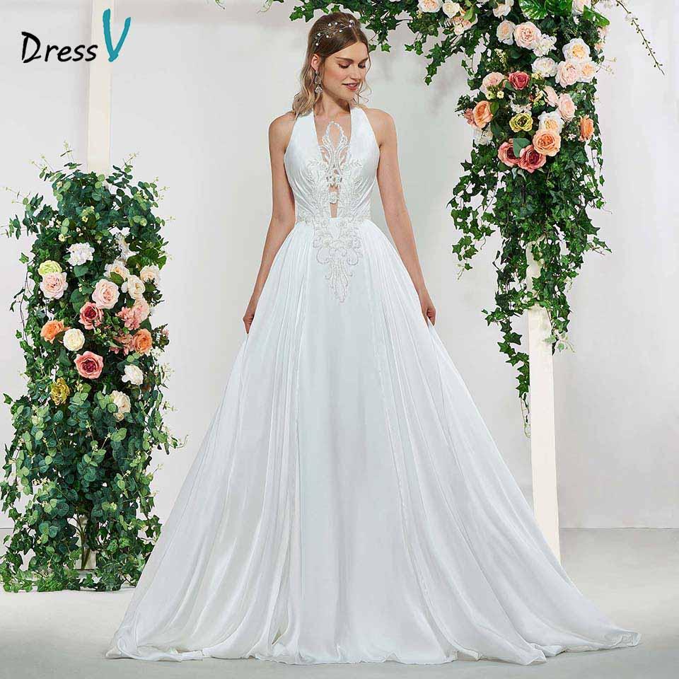us $136.97 47% off|dressv ivory elegant halter neck a line appliques  sleeveless wedding dress floor length simple bridal gowns wedding  dresses-in