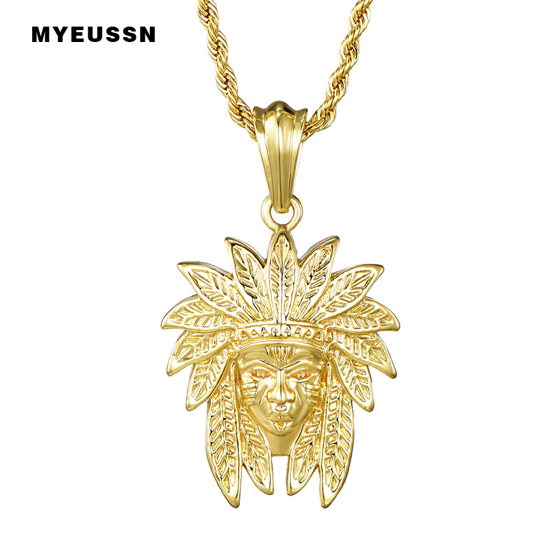 Indian Chief Head Small Charm Pendant With Twist Chain Gold/Silver Necklace For Men Mask Indian Gift Hip Hop Jewelry Native