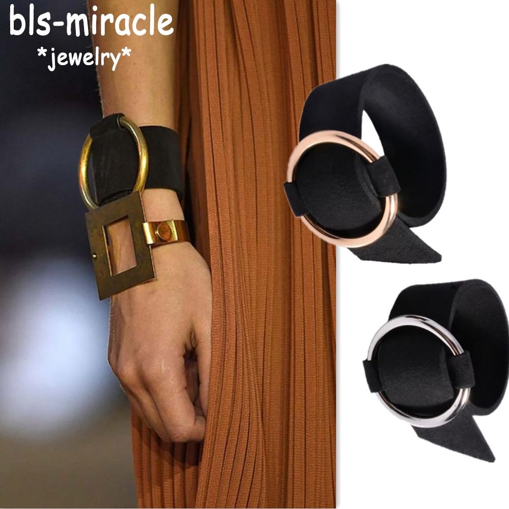 Bls-miracle Bohemia Punk Black Bracelets Big Round Leather Bangle Bracelet Wristband Metal For Woman Party Gift Wholesale BA-132