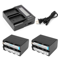 2pc 7 4V 7000mAh NP F960 NP F970 NP F960 F970 Rechargeable Batteries LCD Dual Charger