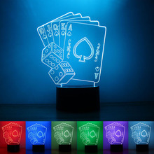 USB Powered Poker 3D Night Light LED Desk Lamp Touch Key Decoration Atmosphere Light Use Home Hotel Party Holiday
