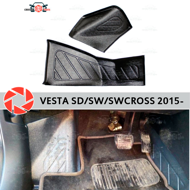 Para Lada Vesta 2015-placa de revestimento interno sob os pés guarnição acessórios de proteção do tapete estilo tampas de proteção do tapete